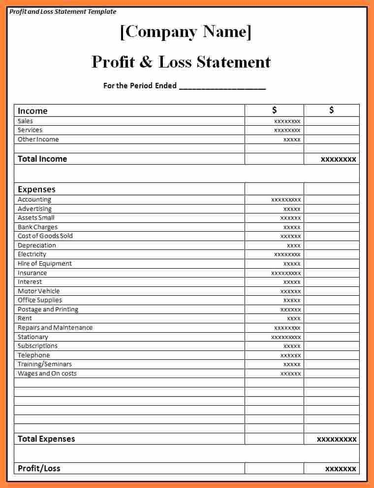 P and L Statement Template Beautiful 6 P and L Statement