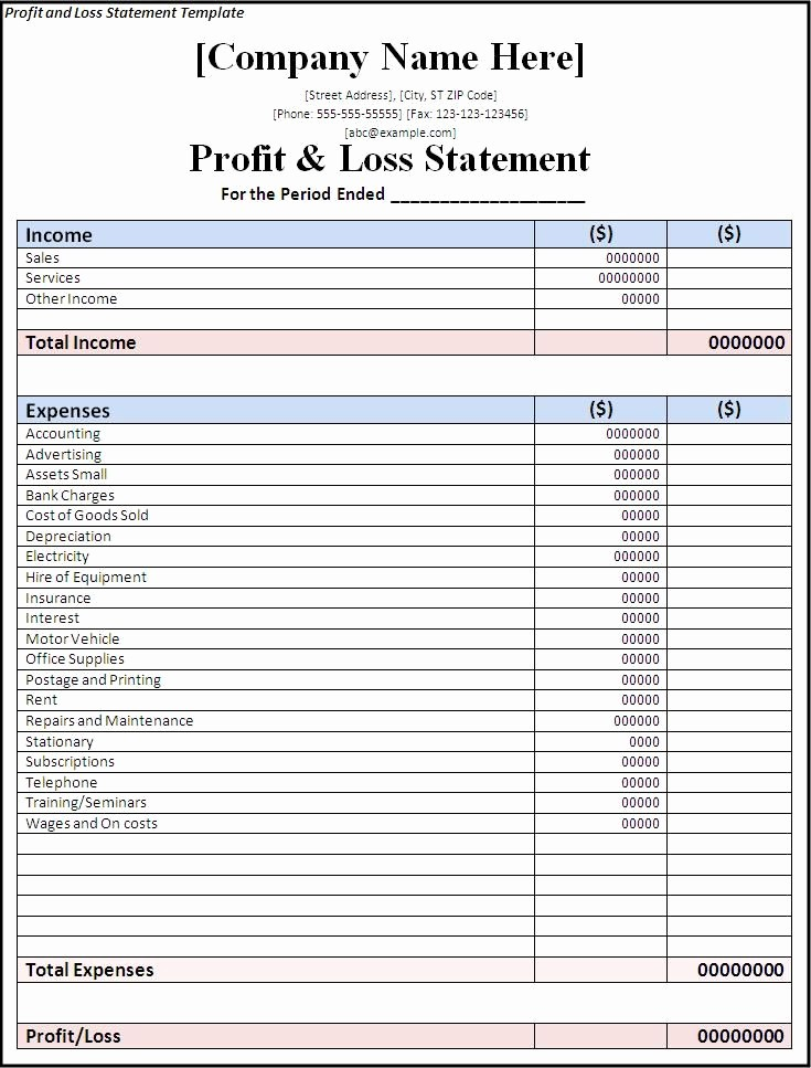 P and L Statement Template Beautiful Profit and Loss Statement Template Free