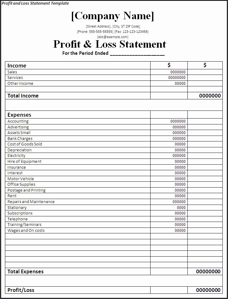 P and L Statement Template Lovely Professional Freelance Content Profit and Loss Statements