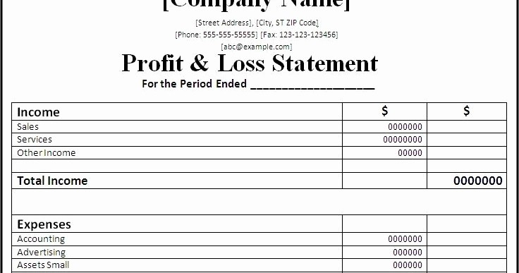 P and L Statement Template Unique Professional Freelance Content Profit and Loss Statements