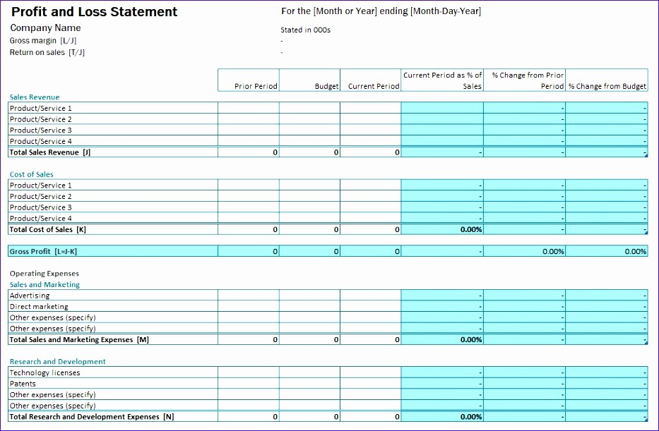 P and L Template Excel Beautiful 10 P and L Excel Template Exceltemplates Exceltemplates