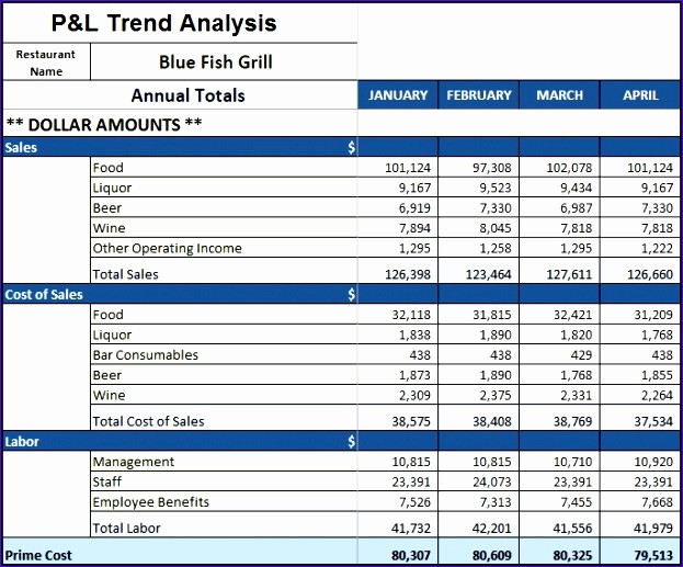 P and L Template Excel Elegant 5 Restaurant Monthly Profit and Loss Statement Template