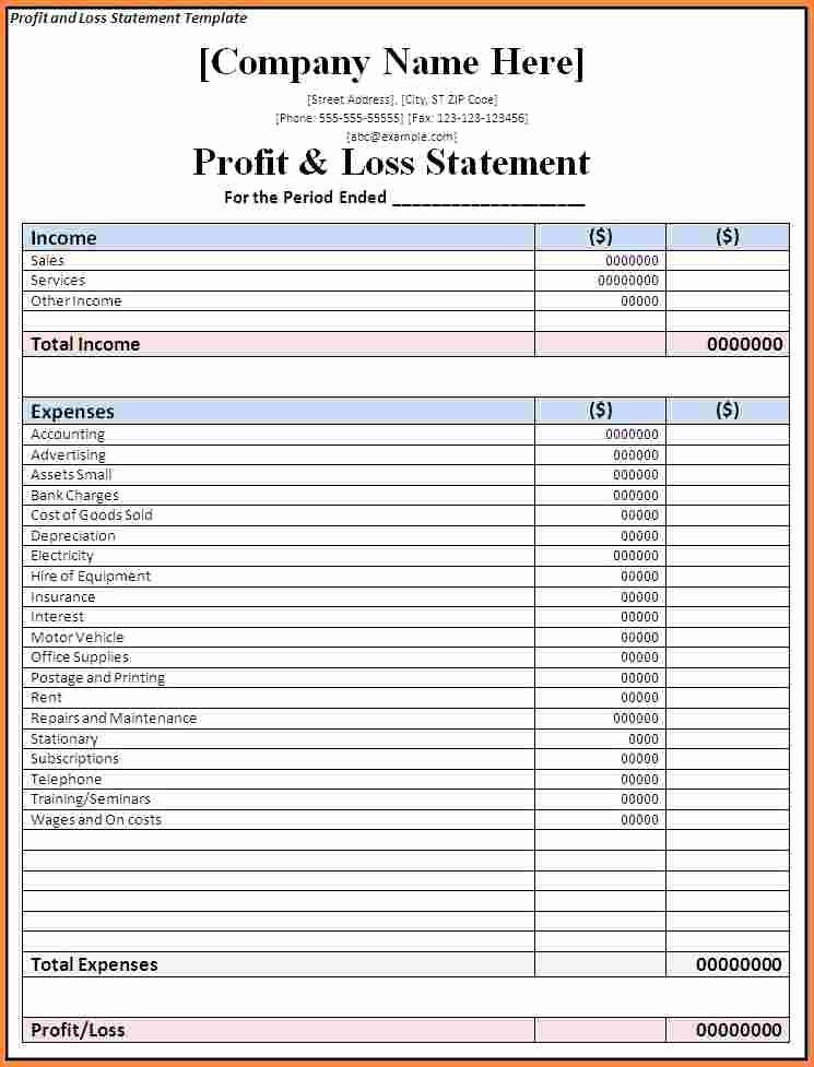 P and L Template Excel Luxury 9 P and L Spreadsheet