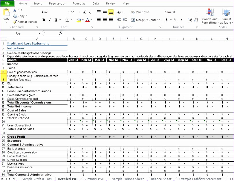 P and L Template Excel New 5 Restaurant Monthly Profit and Loss Statement Template