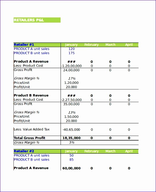 P and L Template Excel Unique 6 P and L Template Excel Exceltemplates Exceltemplates