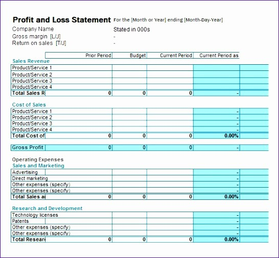 P and L Template Excel Unique 8 Excel P and L Template Exceltemplates Exceltemplates