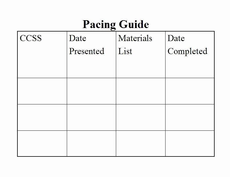 Pacing Calendar Template for Teachers Elegant Mon Core Pacing Guide Template This Pacing Guide Can