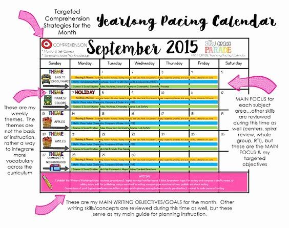 Pacing Calendar Template for Teachers Inspirational Year Long Planning School Pinterest