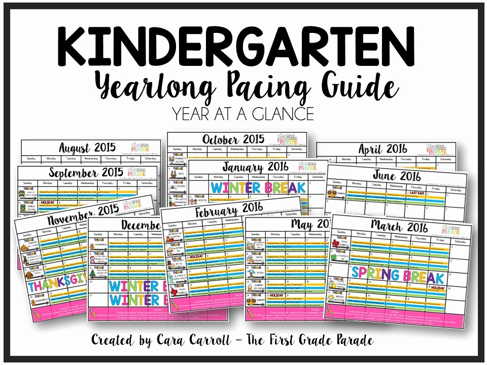 Pacing Calendar Template for Teachers Unique Year Long Planning & Pacing Guide K & 1st Grades the