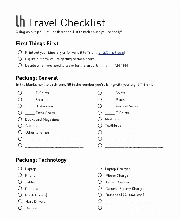 Packing List for Vacation Template Elegant Vacation Checklist Template 12 Free Pdf Documents
