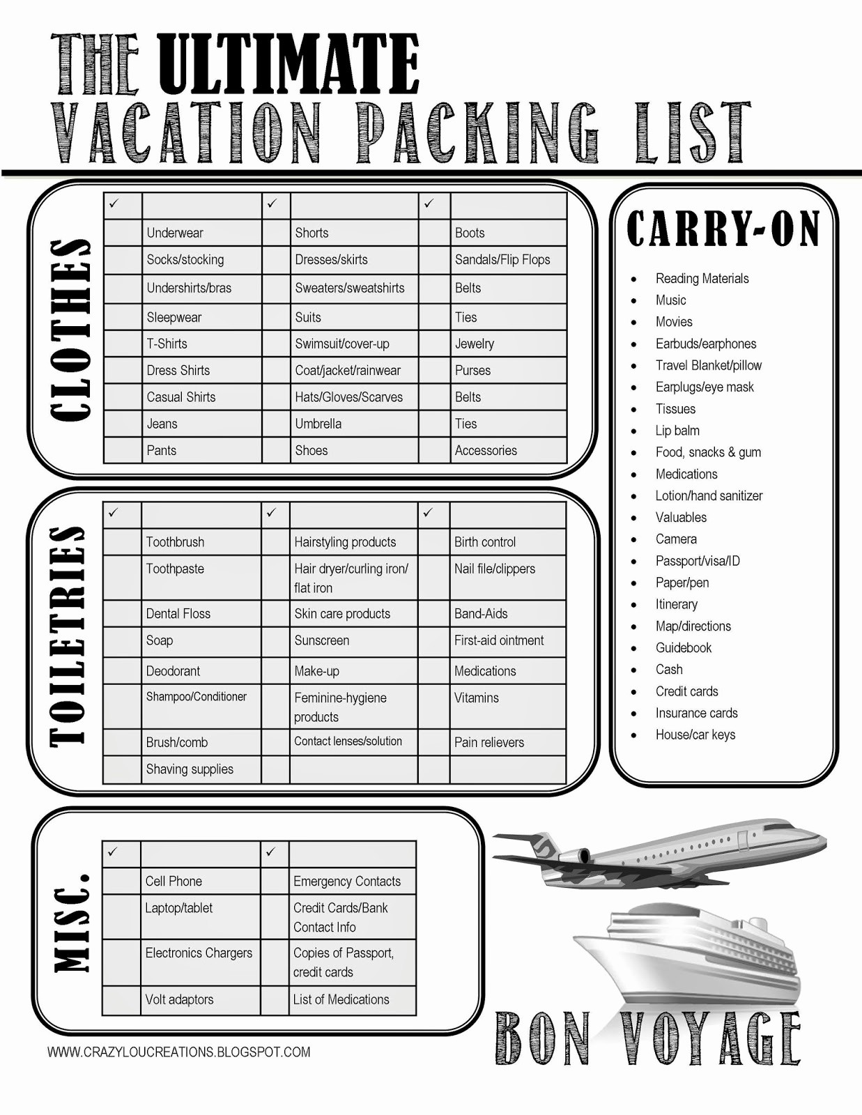 Packing List for Vacation Template Lovely 5 Best Of International Travel Checklist Printable