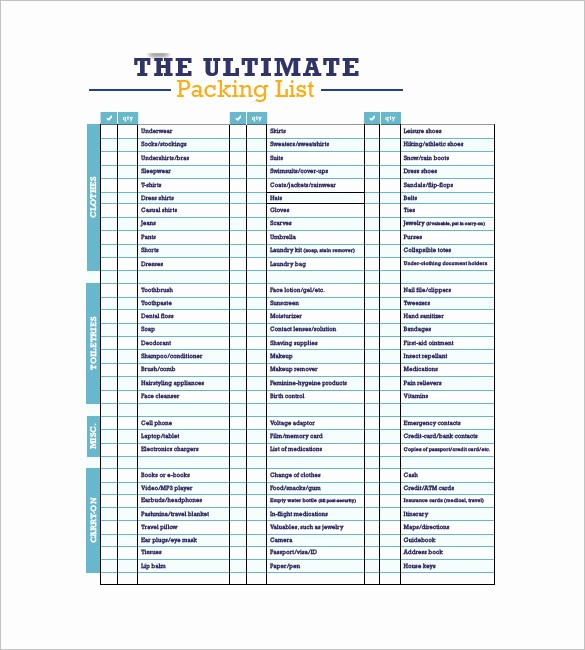 Packing List for Vacation Template Lovely Packing List Template 10 Free Word Excel Pdf format