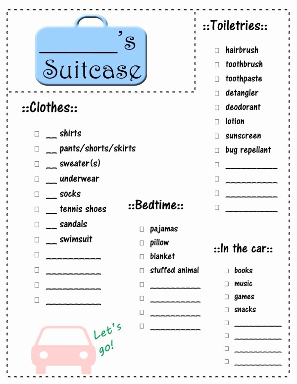 Packing List for Vacation Template Luxury Vacation Packing List for Kids