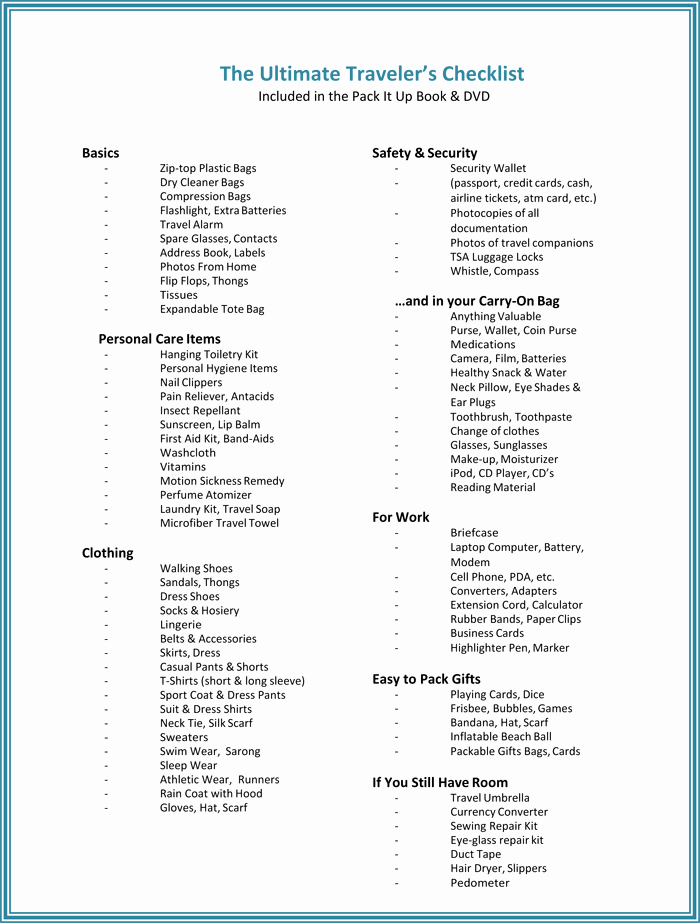 Packing List for Vacation Template New Packing List Template 5 Useful Packing Checklists