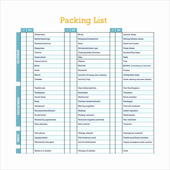 Packing List for Vacation Template Unique Packing List Template