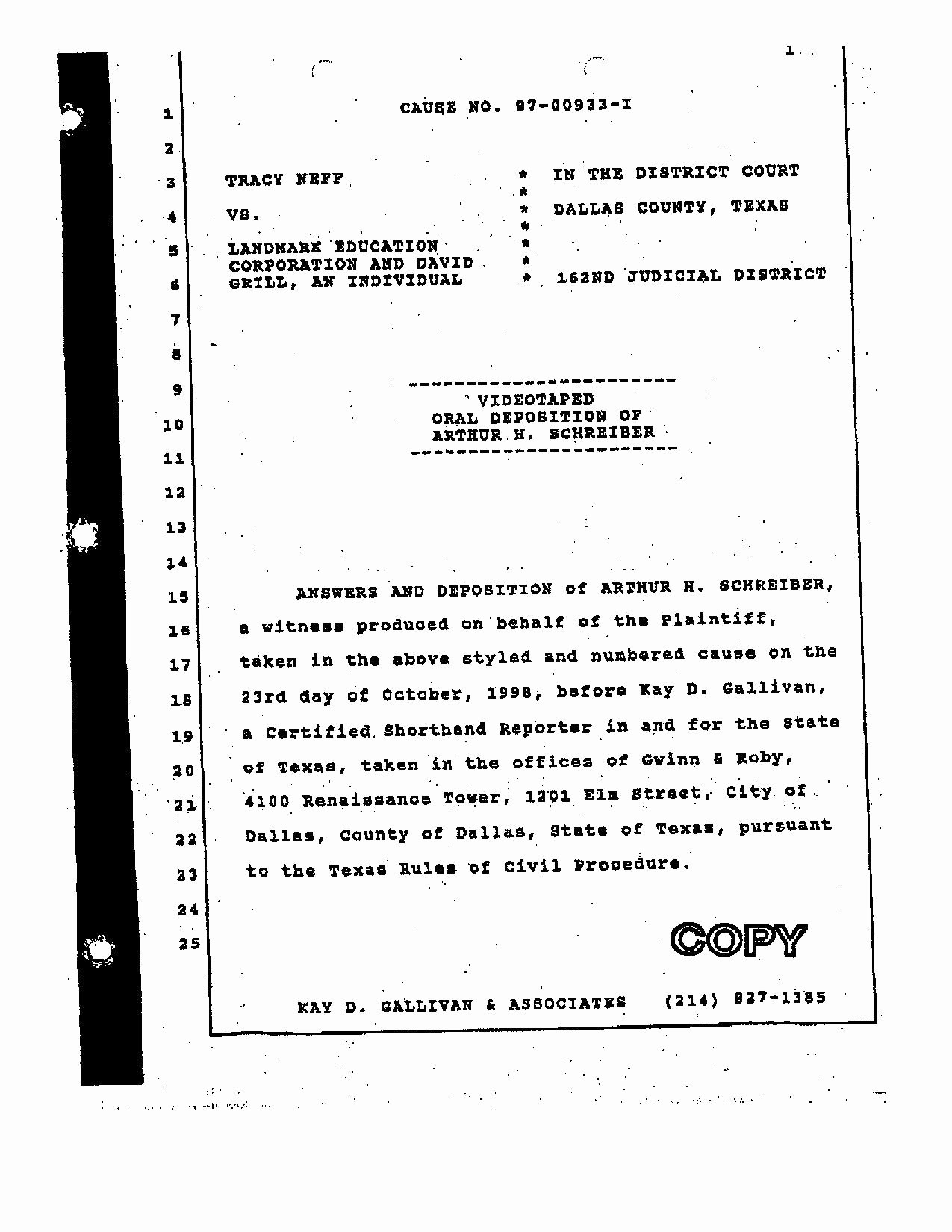 Page Line Deposition Summary Sample Beautiful File 1997 Neff V Landmark Arthur Schreiber Deposition Pdf