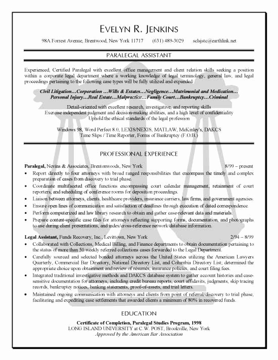 Page Line Deposition Summary Sample Best Of Paralegal Resume Example