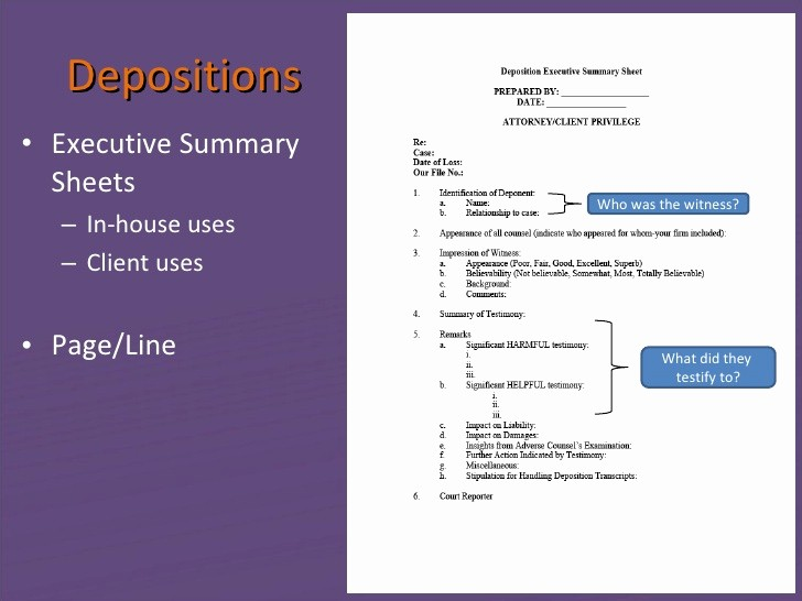 Page Line Deposition Summary Sample New Litigation Tips