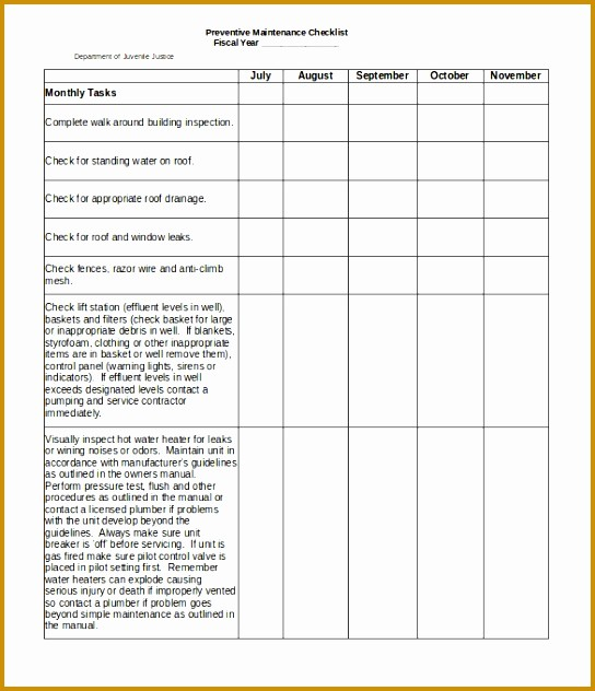 P&l Template Free Lovely 3 Building Maintenance Checklist Template Free