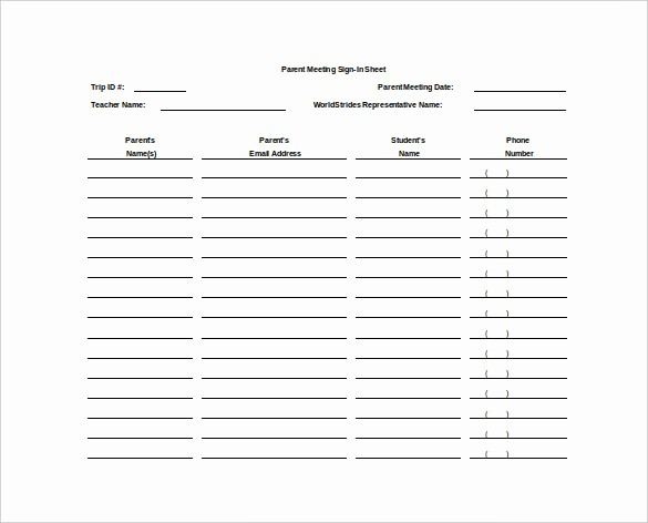 Parent Meeting Sign In Sheet Awesome 18 Sign In Sheet Templates – Free Sample Example format