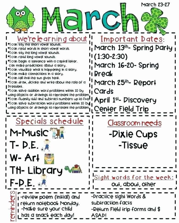 Parent Newsletter Template for Teachers Awesome Template for School Newsletter Elementary Templates Free