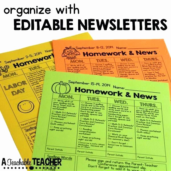 Parent Newsletter Template for Teachers Beautiful Editable Printable Newsletters for the Classroom Homework