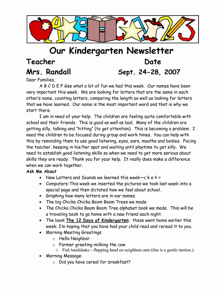 Parent Newsletter Template for Teachers Fresh Best 25 Parent Newsletter Template Ideas On Pinterest