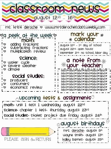 Parent Newsletter Template for Teachers Fresh Newsletter Template A Weekly or Monthly Newsletter Cool