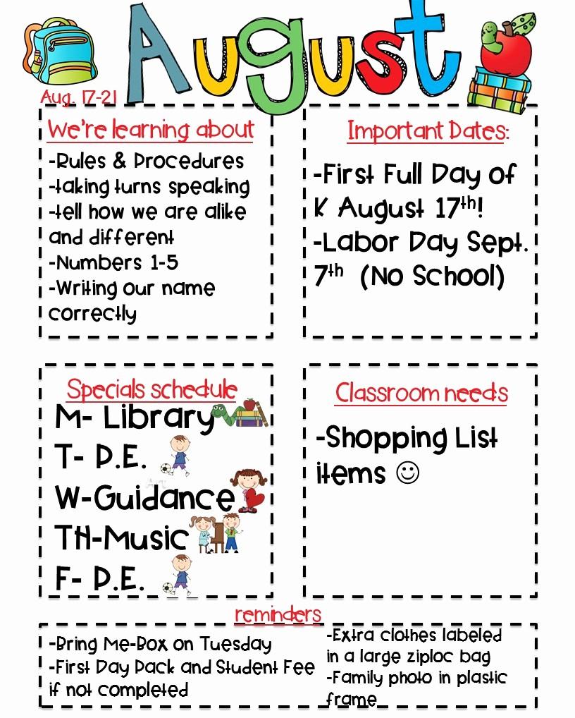 Parent Newsletter Template for Teachers Inspirational Classroom Newsletter Freebie Kickin It In Kindergarten