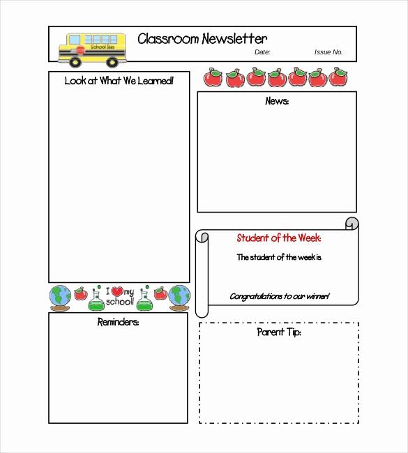 Parent Newsletter Template for Teachers Inspirational Classroom Newsletter Template – 9 Free Word Pdf