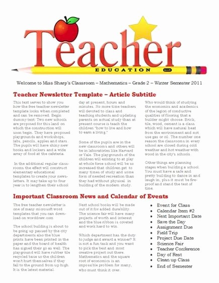 Parent Newsletter Template for Teachers Inspirational Free Newsletter Templates for Teaches and School