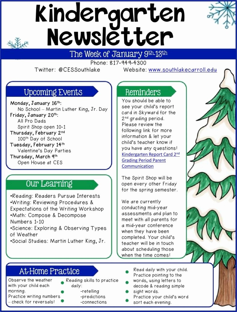 Parent Newsletter Template for Teachers Lovely 9 Kindergarten Newsletter Templates Free Samples