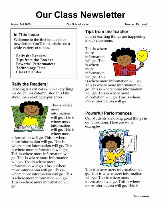 Parent Newsletter Template for Teachers New Classroom Newsletters