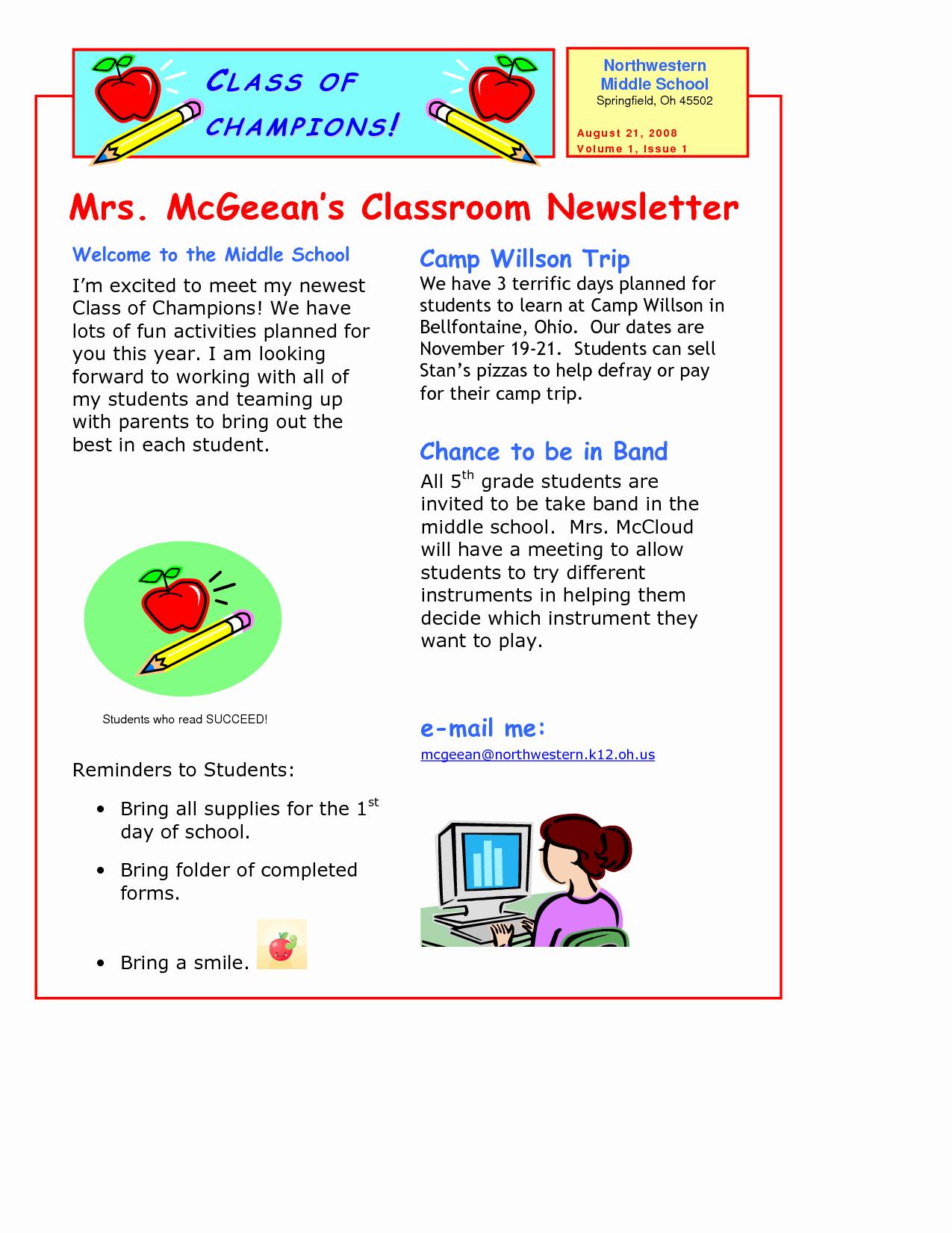 Parent Newsletter Template for Teachers Unique Classroom Newsletter Template