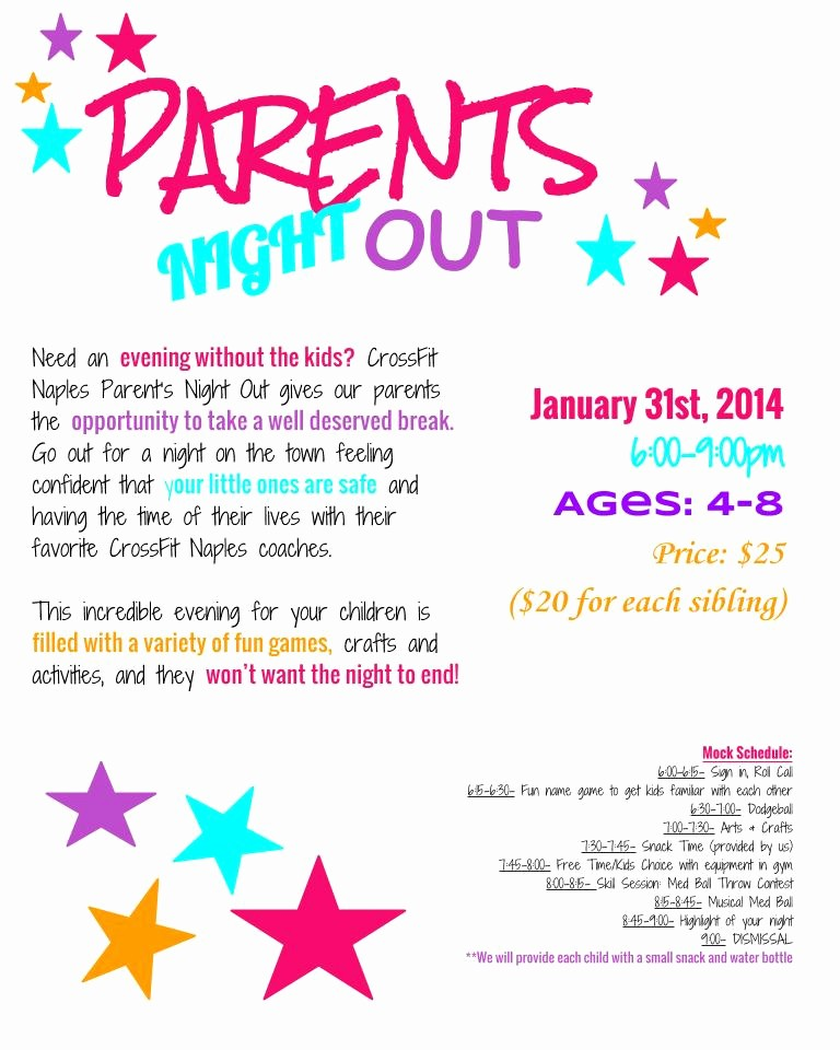 Parent Night Out Flyer Template Awesome Parents Night Out – Naples Strength & Conditioning
