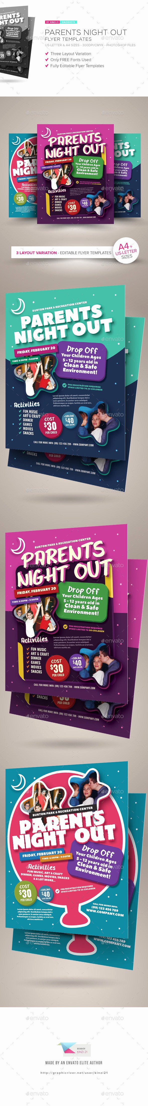 Parent Night Out Flyer Template Best Of Parents Night Out Flyer Templates by Kinzishots