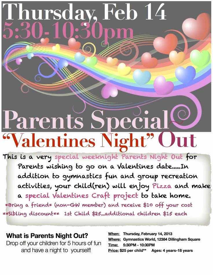 Parent Night Out Flyer Template Fresh 20 Best Parents Night Out👫 Images On Pinterest