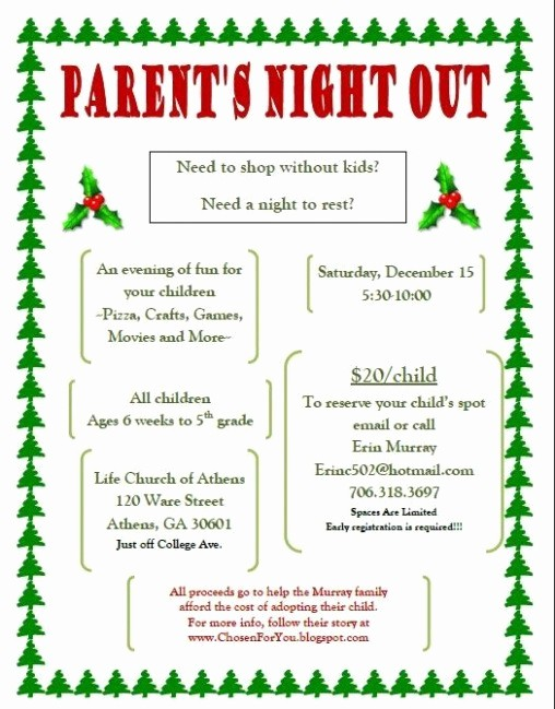 Parent Night Out Flyer Template Fresh Parent Night Flyer Template Parent Night Flyer Template