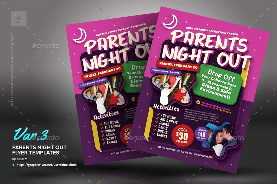 Parent Night Out Flyer Template Inspirational Parents Night Out Flyer Templates by Kinzishots