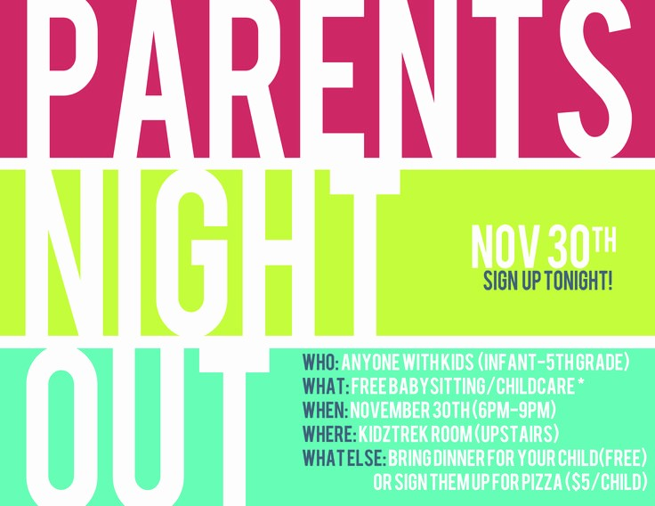Parent Night Out Flyer Template Luxury Parents Night Out Google Search Pass Ideas