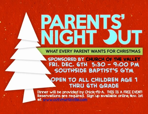 Parent Night Out Flyer Template Unique Church Of the Valley Church Valley