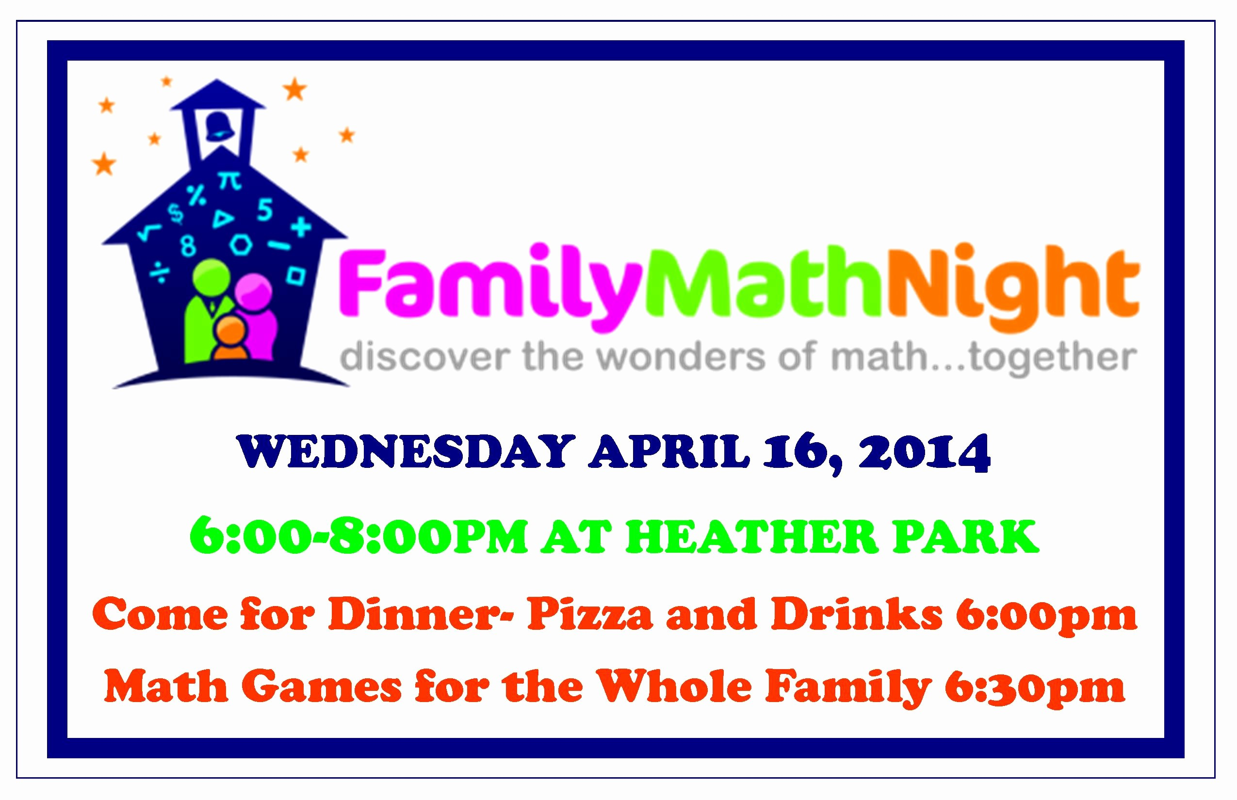 Parent Night Out Flyer Template Unique Family Math Night at Heather Park School Wednesday April