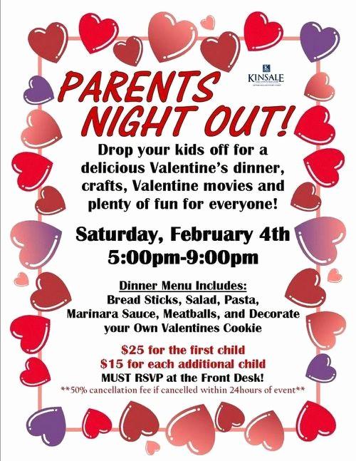 Parent Night Out Flyer Template Unique Parents Night Out Valentine Sample Flier