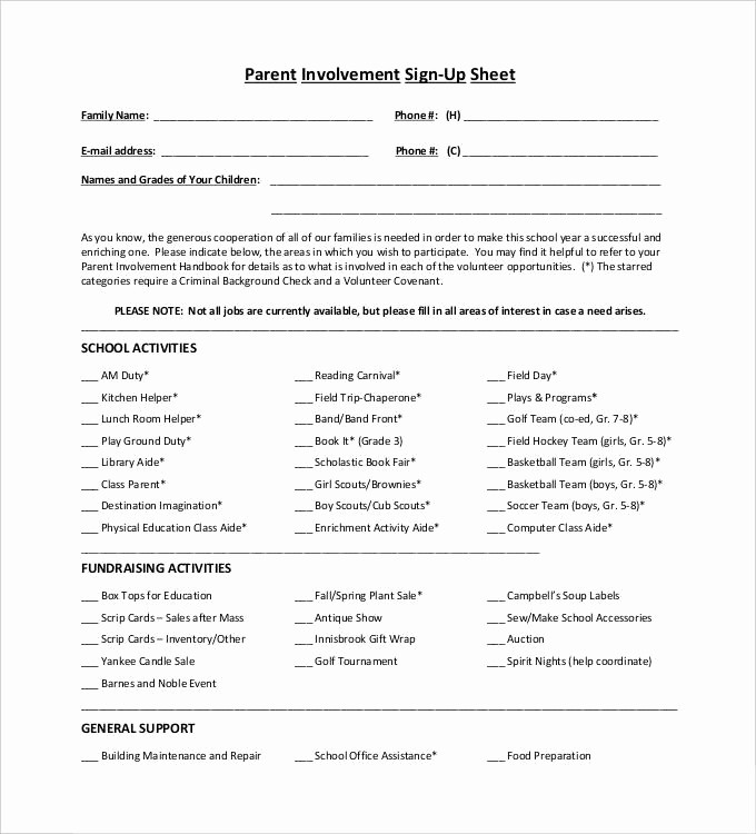 Parent Sign In Sheet Pdf Beautiful Sign Up Sheets 58 Free Word Excel Pdf Documents