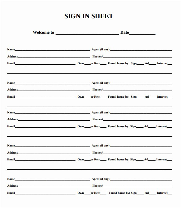 Parent Sign In Sheet Pdf Lovely Sample Open House Sign In Sheet Template 10 Download