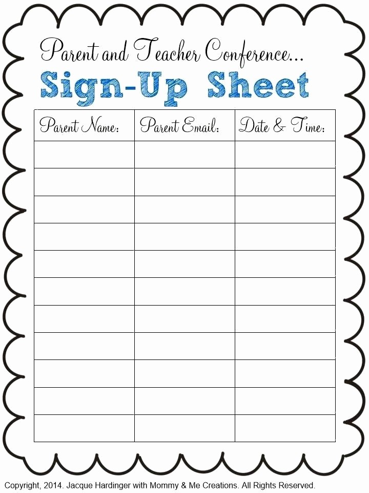Parent Sign In Sheet Pdf Lovely Sign Up Calendar Template Editable Printable Sheet Meeting