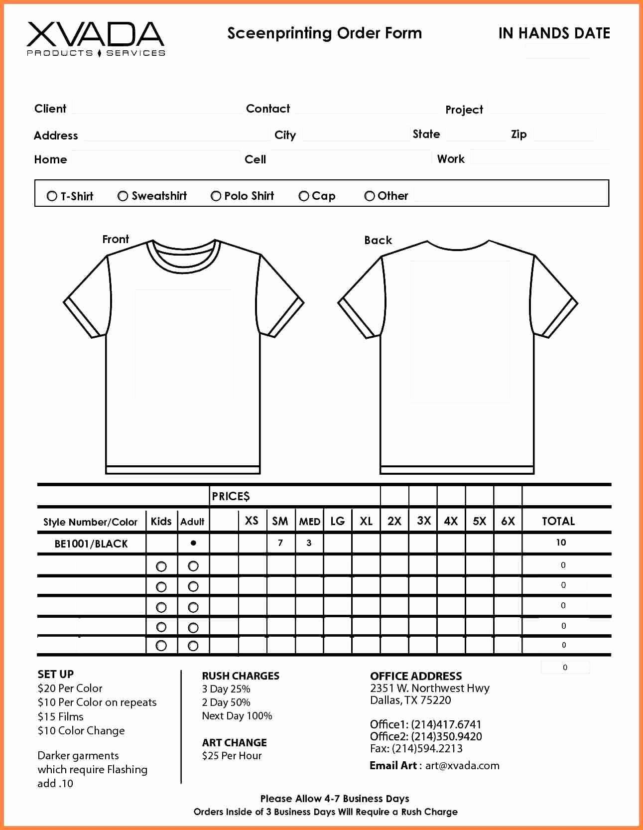 Parts order form Template Excel Elegant Shirt order form Template Beepmunk