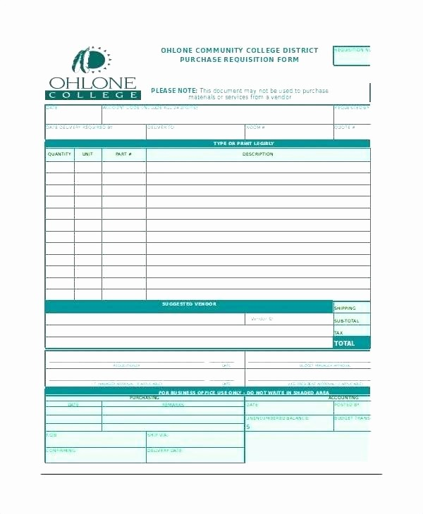 Parts order form Template Excel Unique Material Requisition form Word Template Printable Purchase