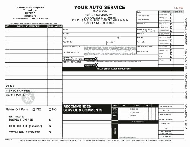 Parts order form Template Excel Unique Parts order Template Appliance Repair Invoice Template