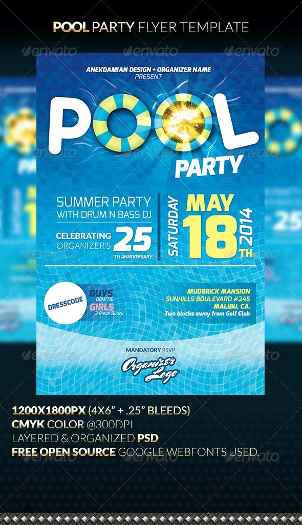 Party Flyer Templates Free Downloads Elegant Pool Party Flyer Template